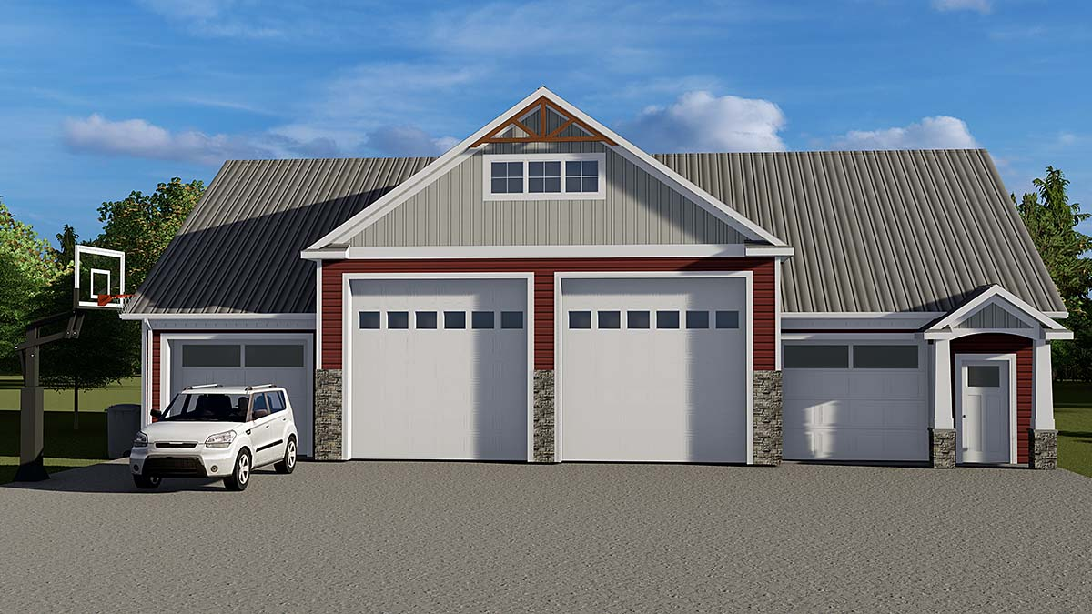 Bungalow, Country, Craftsman 3 Car Garage Plan 51853 Front Elevation