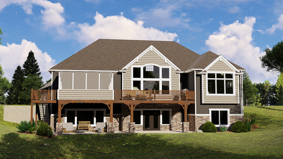 Country, Craftsman, Ranch House Plan 51854 with 4 Beds, 4 Baths, 3 Car Garage Rear Elevation