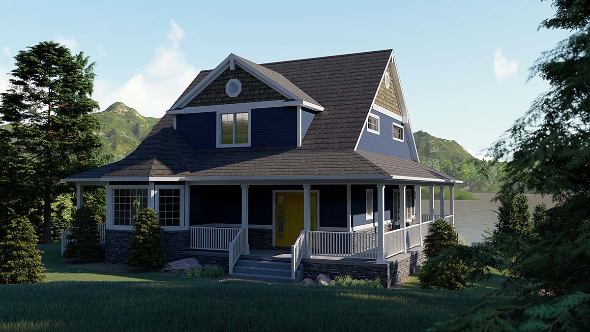 Coastal, Cottage, Craftsman House Plan 51855 with 4 Beds, 3 Baths Front Elevation