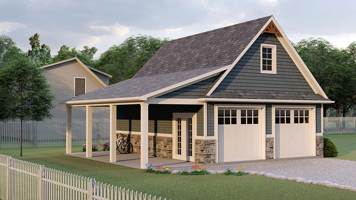 Bungalow, Country, Craftsman 2 Car Garage Apartment Plan 51858 Elevation