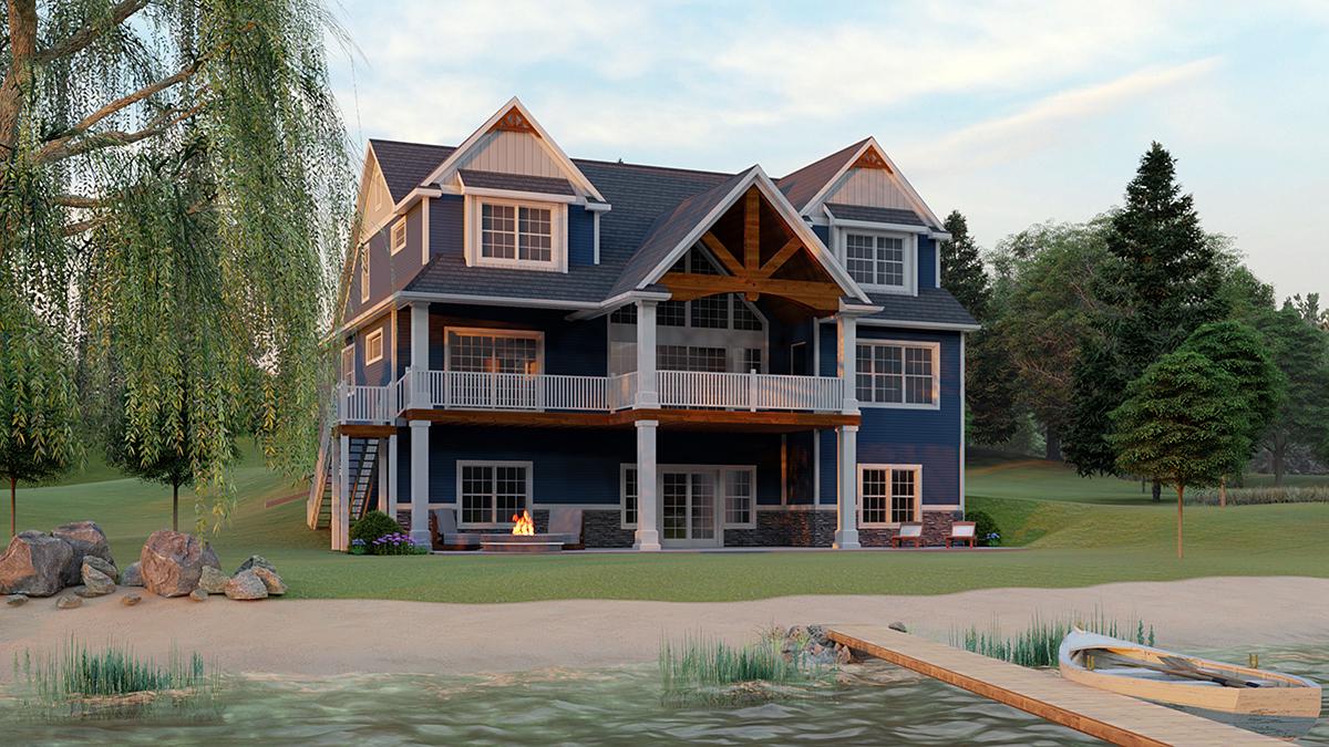 Bungalow, Cottage, Craftsman House Plan 51863 with 3 Beds, 4 Baths, 3 Car Garage Rear Elevation