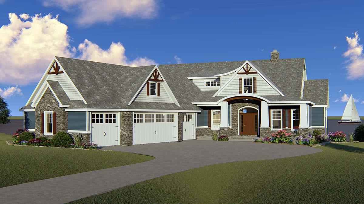 Bungalow, Coastal, Country, Craftsman House Plan 51864 with 2 Beds, 4 Baths, 4 Car Garage Front Elevation