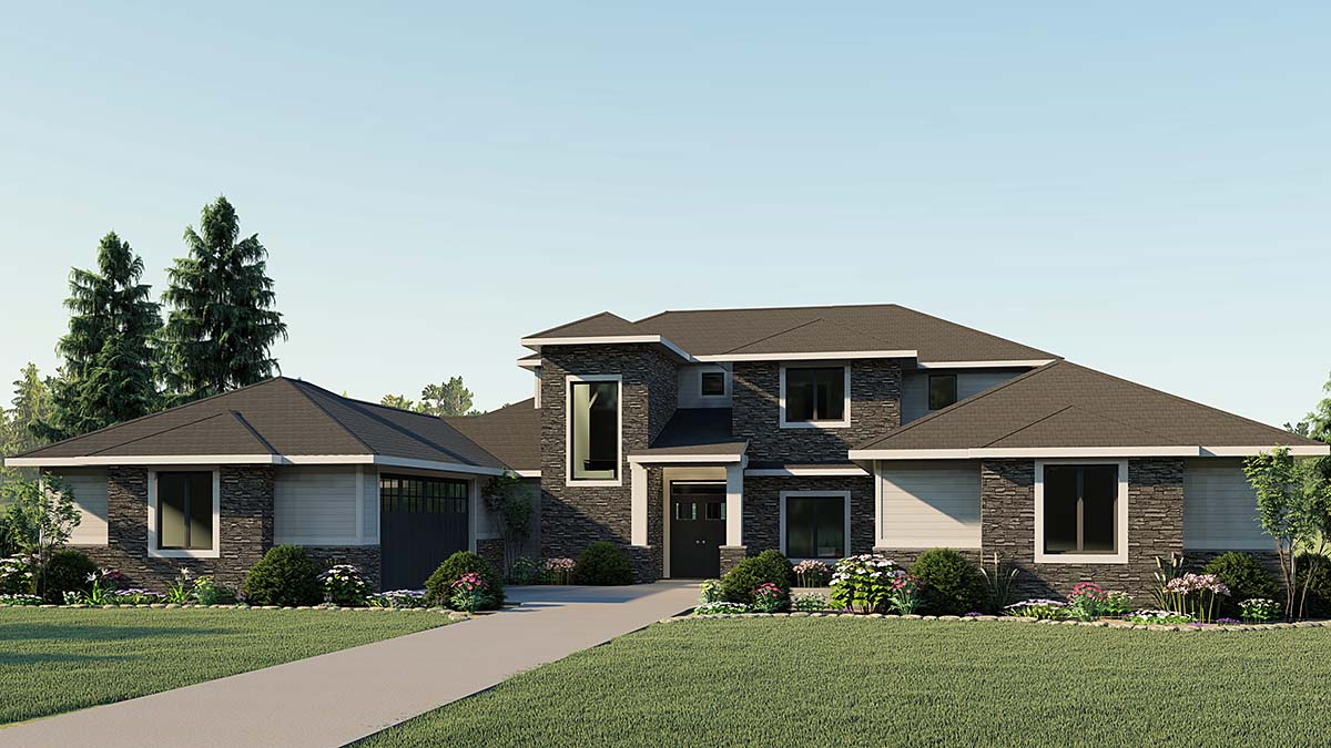 Contemporary, Craftsman House Plan 51866 with 4 Beds, 3 Baths, 4 Car Garage Front Elevation