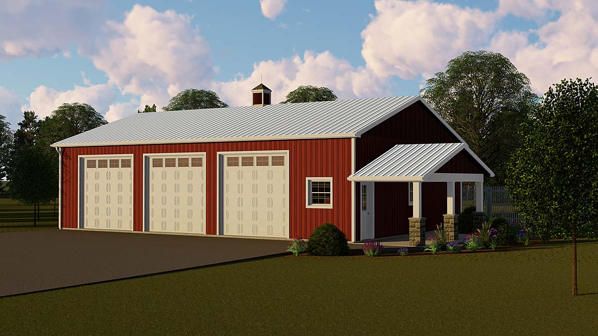 Country 3 Car Garage Plan 51868 Elevation
