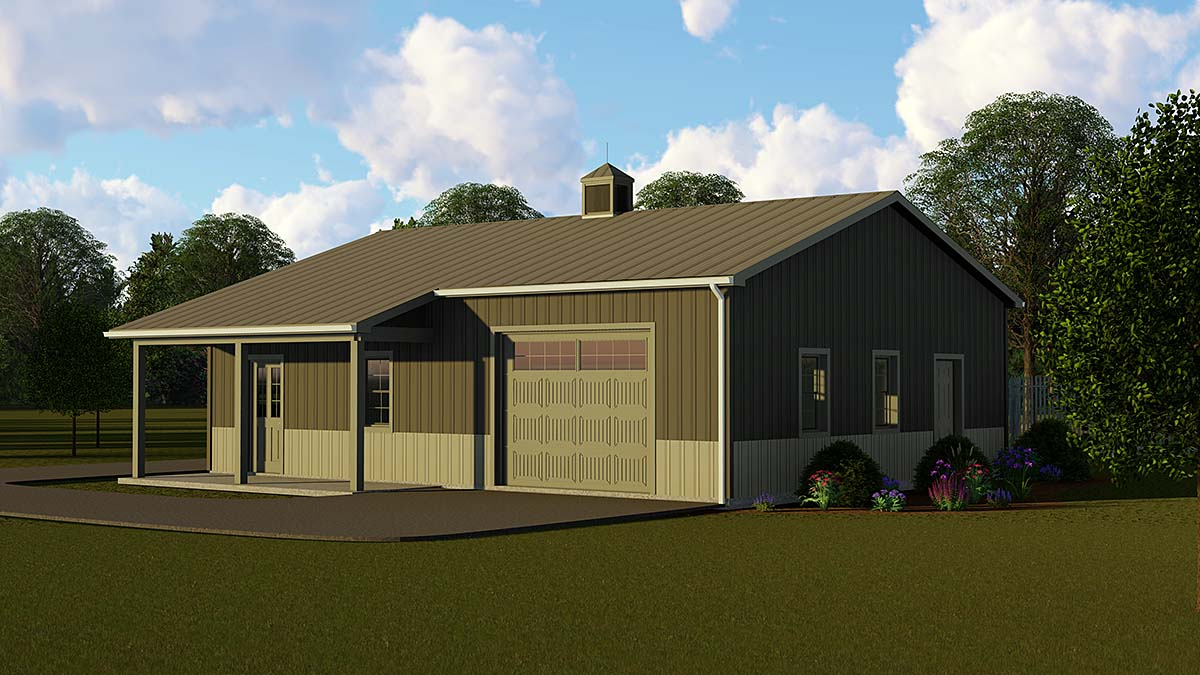 Country, Craftsman, Traditional 3 Car Garage Plan 51876 Front Elevation