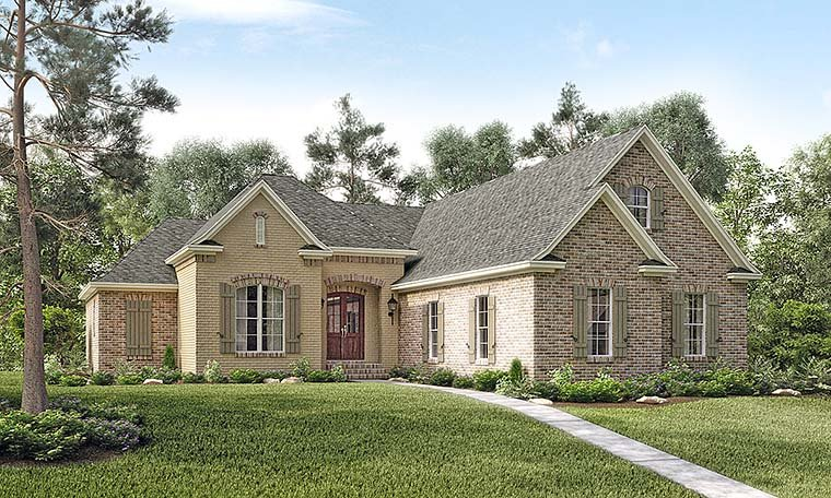 Country , French Country House Plan 51906 with 3 Beds, 3 Baths, 2 Car Garage Elevation