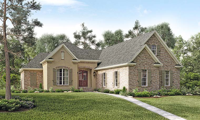 Country, French Country House Plan 51906 with 3 Beds, 3 Baths, 2 Car Garage Elevation