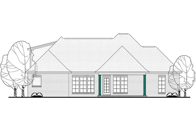 Country , French Country House Plan 51906 with 3 Beds, 3 Baths, 2 Car Garage Rear Elevation