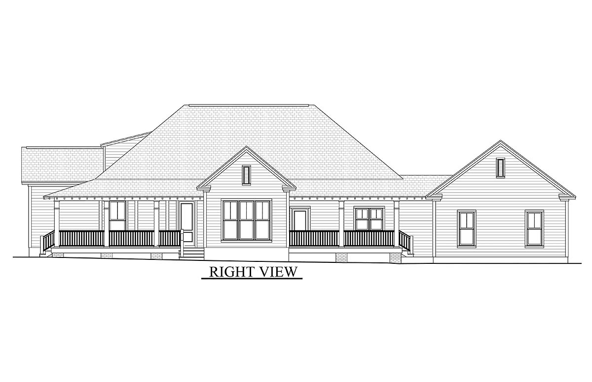 Country Craftsman Southern Traditional House Plan 51908
