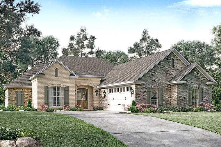 Country, French Country House Plan 51909 with 3 Beds, 3 Baths, 2 Car Garage Elevation