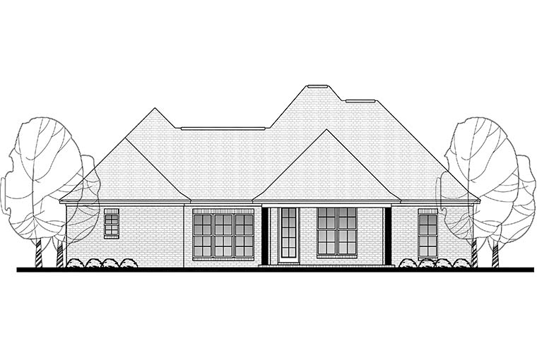 Country French Country Rear Elevation of Plan 51910