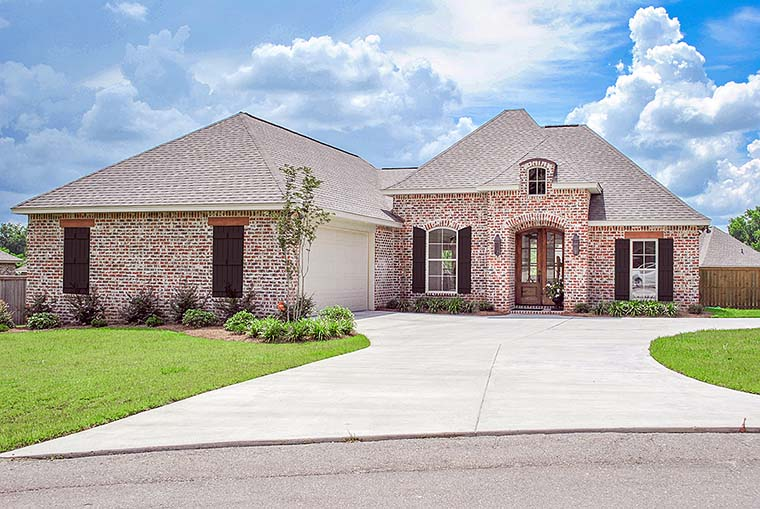 Country, European, French Country House Plan 51911 with 3 Beds, 2 Baths, 2 Car Garage Elevation