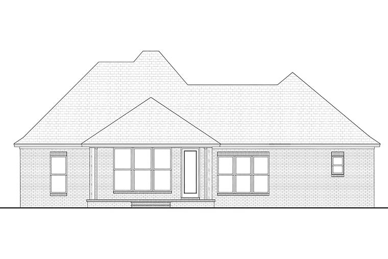 Country European French Country Rear Elevation of Plan 51911