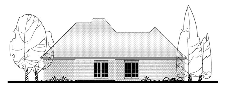 Country European French Country Rear Elevation of Plan 51912