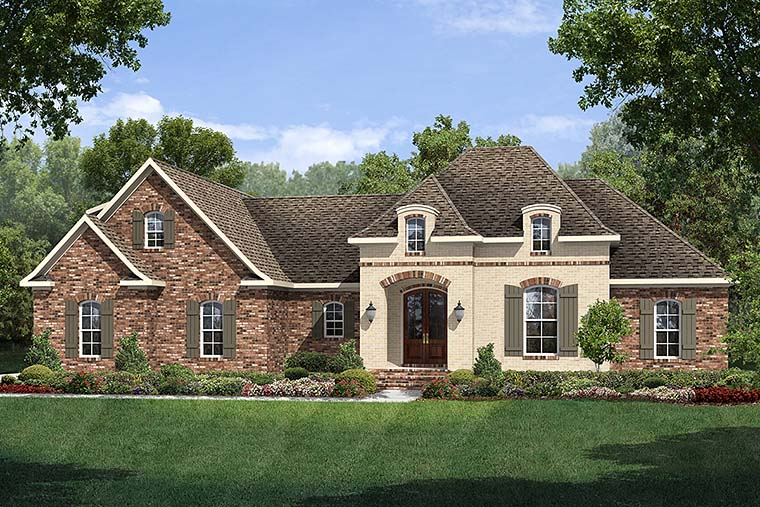 Country, European, French Country House Plan 51913 with 3 Beds, 2 Baths, 2 Car Garage Elevation