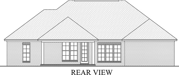 Country, European, French Country, Traditional House Plan 51917 with 3 Beds, 2 Baths, 2 Car Garage Rear Elevation