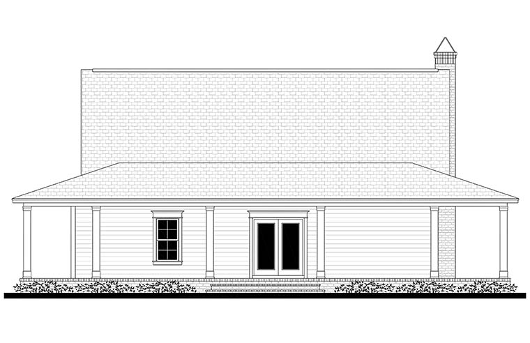 Cottage Country Craftsman Southern Traditional House Plan 51920 Rear Elevation