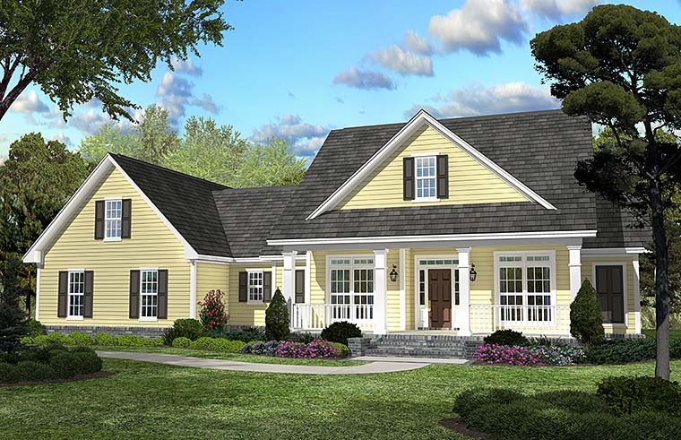Traditional , Southern , Country House Plan 51923 with 3 Beds, 2 Baths, 2 Car Garage Elevation