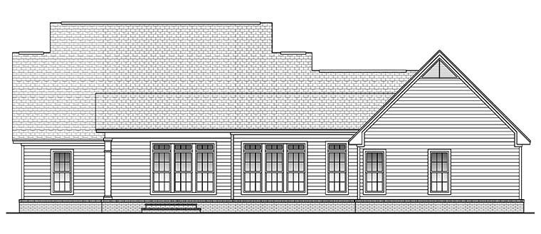 Traditional , Southern , Country House Plan 51923 with 3 Beds, 2 Baths, 2 Car Garage Rear Elevation