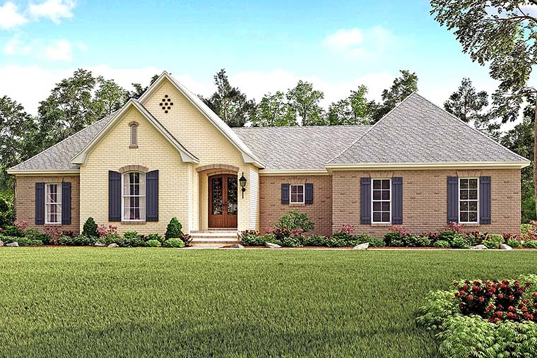 Country, French Country, Traditional House Plan 51924 with 4 Beds, 2 Baths, 2 Car Garage Elevation