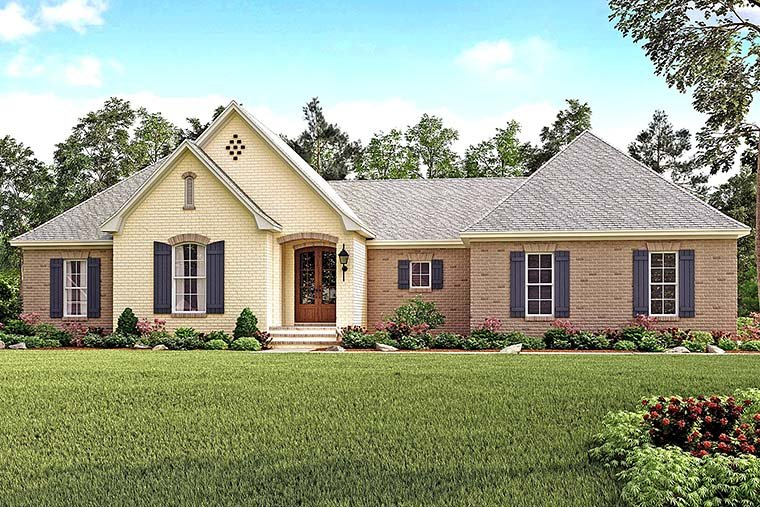 Traditional , French Country , Country House Plan 51924 with 4 Beds, 2 Baths, 2 Car Garage Elevation