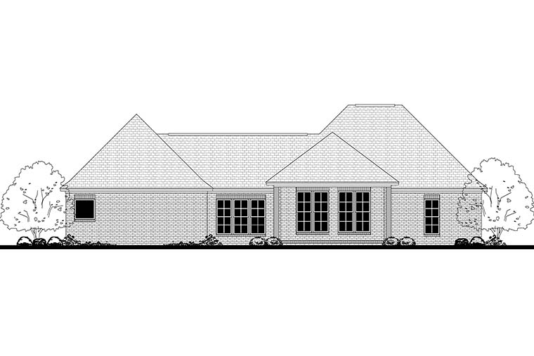 Country, French Country, Traditional House Plan 51924 with 4 Beds, 2 Baths, 2 Car Garage Rear Elevation