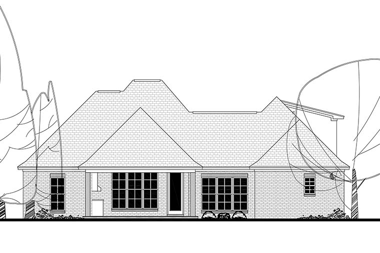 House Plan 51925 | Country French Country Southern Style Plan with 2146 Sq Ft, 4 Bedrooms, 3 Bathrooms, 2 Car Garage Rear Elevation