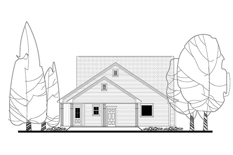 Cottage Country Craftsman Traditional House Plan 51926 Rear Elevation