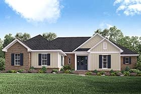 Ranch , Traditional House Plan 51927 with 4 Beds, 3 Baths, 2 Car Garage Elevation