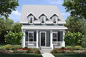 Colonial Cottage Country Southern Traditional House Plan 51929 Elevation