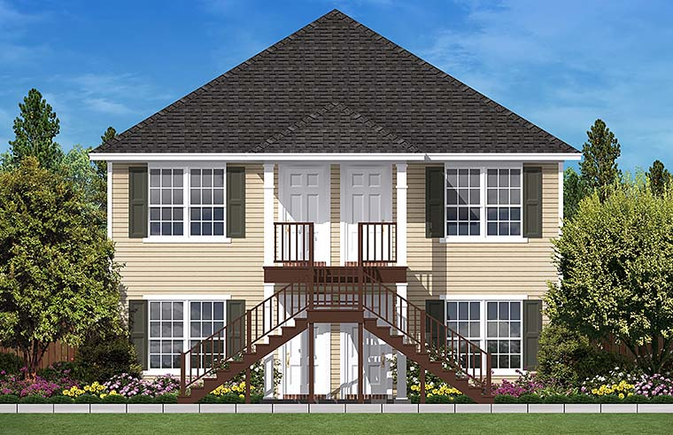 Traditional Multi-Family Plan 51931 with 4 Beds, 4 Baths Front Elevation