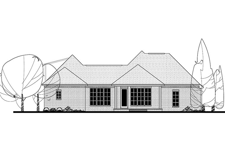 Country French Country Southern Traditional House Plan 51932 Rear Elevation
