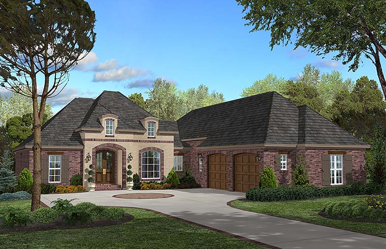 Country , European , French Country House Plan 51935 with 3 Beds, 3 Baths, 2 Car Garage Elevation