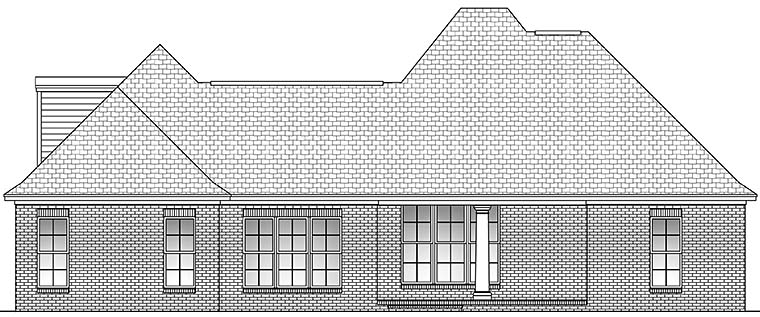 Country , European , French Country House Plan 51935 with 3 Beds, 3 Baths, 2 Car Garage Rear Elevation