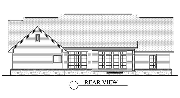 Country Ranch Southern Traditional House Plan 51938 Rear Elevation