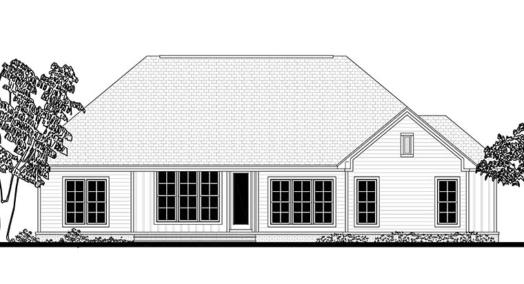 Cottage Craftsman Traditional House Plan 51939 Rear Elevation