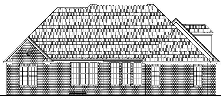 European Traditional House Plan 51940 Rear Elevation