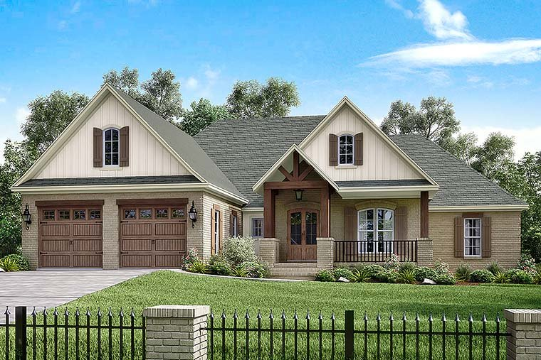 Country, Craftsman, Farmhouse, Traditional House Plan 51941 with 4 Beds, 3 Baths, 2 Car Garage Elevation