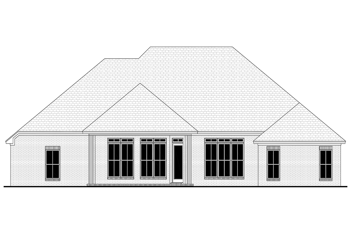 European, French Country House Plan 51942 with 4 Beds, 3 Baths, 2 Car Garage Rear Elevation
