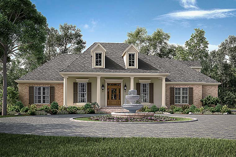 European , French Country , Traditional House Plan 51943 with 4 Beds, 2 Baths, 2 Car Garage Elevation