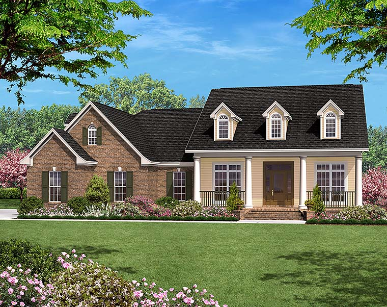 Country, Ranch, Traditional House Plan 51944 with 3 Beds, 3 Baths, 2 Car Garage Elevation