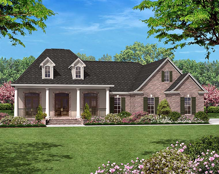 European, French Country House Plan 51945 with 3 Beds, 3 Baths, 2 Car Garage Front Elevation