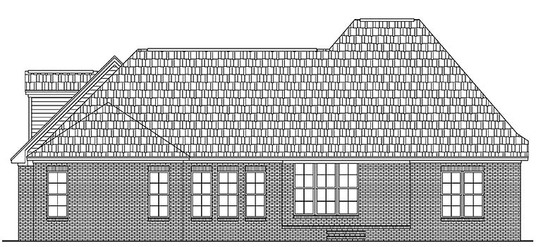 European, French Country House Plan 51945 with 3 Beds, 3 Baths, 2 Car Garage Rear Elevation