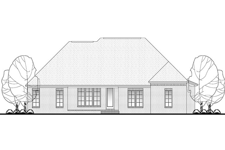 House Plan 51948 | European French Country Traditional Style Plan with 2416 Sq Ft, 4 Bedrooms, 3 Bathrooms, 2 Car Garage Rear Elevation