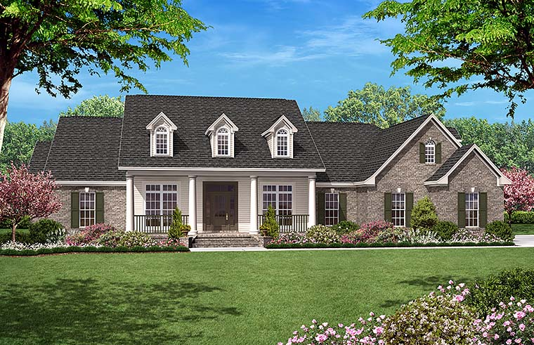 Country , Ranch , Traditional House Plan 51953 with 4 Beds, 4 Baths, 2 Car Garage Elevation