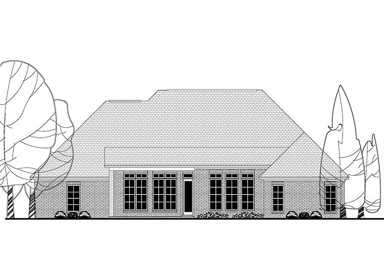 European French Country Rear Elevation of Plan 51955