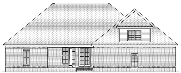 Country , French Country House Plan 51957 with 4 Beds, 3 Baths, 2 Car Garage Rear Elevation