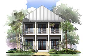 Coastal , Cottage , Southern , Traditional House Plan 51958 with 4 Beds, 5 Baths, 2 Car Garage Elevation