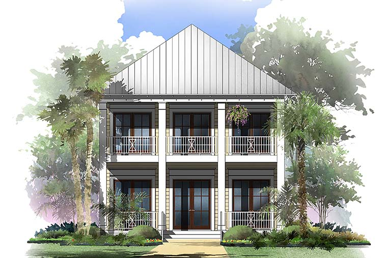 Coastal Cottage Southern Traditional House Plan 51958 Elevation