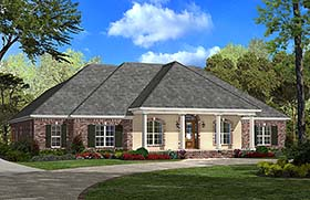 Country , French Country , Southern House Plan 51959 with 4 Beds, 3 Baths, 2 Car Garage Elevation